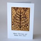 Burned etched Wood Christmas Tree Card