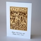 Burned etched Wood Village Tree Christmas Card