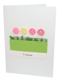 Potted Asters pink greetings card.